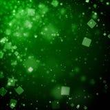 Abstrakcjonistyczny ciemnozielony tło z kwadratowego bokeh defocused światłami Zdjęcia Royalty Free
