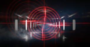 Abstrakcjonistyczny ciemny tło z promieniami, laserowym czerwonym widokiem i neonowym światłem, Pusty tunel, pokój, suterenowy no zdjęcie stock