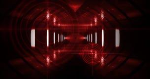 Abstrakcjonistyczny ciemny tło z promieniami, laserowym czerwonym widokiem i neonowym światłem, Pusty tunel, pokój, suterenowy no zdjęcia stock