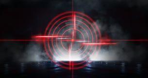 Abstrakcjonistyczny ciemny tło z promieniami, laserowym czerwonym widokiem i neonowym światłem, Pusty tunel, pokój, suterenowy no zdjęcia royalty free