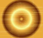Abstrakcjonistyczny ciemny złoty techniczny okręgu tło ilustracji