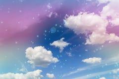 Abstrakcjonistyczny colourful marzycielski jak niebiański niebo z kwiatu polem wewnątrz Zdjęcia Royalty Free