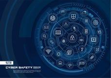 Abstrakcjonistyczny cyber ochrony tło Digital łączy system z zintegrowanymi okręgami, rozjarzonymi cienieje kreskowe ikony royalty ilustracja