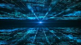 Abstrakcjonistyczny cyfrowy matrycowy t?o Futurystyczny du?y dane technologie informacyjne poj?cie Ruch grafika dla abstrakcjonis ilustracji