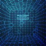 Abstrakcjonistyczny cyfrowy pokój, wektorowa ilustracja Sieć związki z punktami i liniami tło abstrakcyjna technologii ilustracji