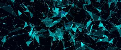 Abstrakcjonistyczny cyfrowy tło z cybernetycznymi cząsteczkami ilustracja wektor
