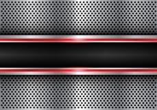 Abstrakcjonistyczny czarny czerwonej linii światła sztandar na metalu okręgu siatki projekta tła nowożytnym futurystycznym wektor Obrazy Royalty Free