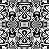 Abstrakcjonistyczny czarny i biały kierowy walentynka dnia bezszwowy tło Obraz Royalty Free