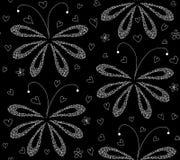 Abstrakcjonistyczny czarny i biały kwiecisty wektorowy bezszwowy wzór z obliczającymi ćma ilustracja wektor