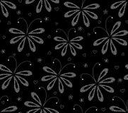 Abstrakcjonistyczny czarny i biały kwiecisty wektorowy bezszwowy wzór z obliczającymi ćma ilustracji