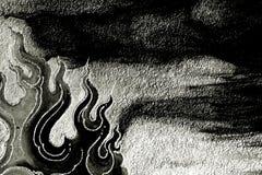 Abstrakcjonistyczny czarny i biały sztuka płomień zdjęcia royalty free