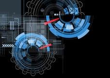 Abstrakcjonistyczny czarny przekładni technologii tło Obraz Stock