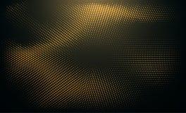 Abstrakcjonistyczny czarny tło textured z promieniowej błyskotliwości halftone złotym wzorem ilustracji