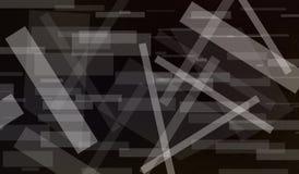 Abstrakcjonistyczny czarny tło z białymi prostokątów kształtami ablegrującymi w nowożytnym graficznej sztuki wzorze z lampasami i Zdjęcie Royalty Free