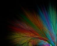 Abstrakcjonistyczny czarny tło z tęcza kwiatem lub promienie w kącie ilustracji