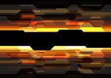 Abstrakcjonistyczny czarny wielobok na żółtego pomarańczowego światła technologii projekta tła nowożytnym futurystycznym wektorze ilustracji