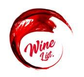 Abstrakcjonistyczny czerwonego wina tło Wino listy Wektorowa ilustracja na bielu Royalty Ilustracja