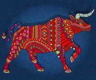 Abstrakcjonistyczny czerwony byk z geometrycznymi wzorami na zmroku - błękitny kwiecisty tło Obrazy Royalty Free