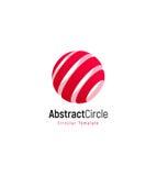 Abstrakcjonistyczny czerwony słońce, obdzierający wektorowy loga szablon, round zawijasa prosty logotyp royalty ilustracja