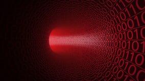 Abstrakcjonistyczny czerwony tunel robić z zero i ones nowoczesne tło Komputery, binarny transfer danych, technologie cyfrowe Obraz Royalty Free