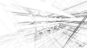 Abstrakcjonistyczny 3D rendering budynku wireframe struktura ilustracji