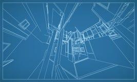 Abstrakcjonistyczny 3D rendering budynku wireframe struktura wektor ilustracji