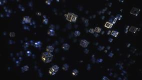 Abstrakcjonistyczny 3D rendering Latający sześcianów 8K postanowienie royalty ilustracja