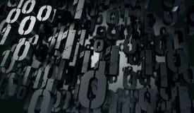 Abstrakcjonistyczny 3d tło, Binarny język i wirtualny matrycowy concep, ilustracja wektor