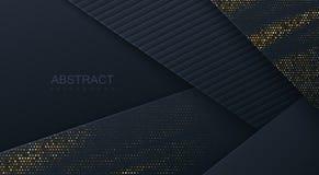 Abstrakcjonistyczny 3d tło z czerń papieru warstwami ilustracja wektor