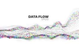 Abstrakcjonistyczny dane spływowy unaocznienie Ewidencyjny strumień Cząsteczki sieć ilustracja wektor