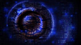 Abstrakcjonistyczny dane szyka tło, matrycowa futurystyczna cyberprzestrzeń z cyframi, binarny kod i kółkowe fale, zapora, duży d royalty ilustracja