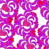 Abstrakcjonistyczny dekoracyjny rysujący tło wzory i serca Zdjęcie Royalty Free