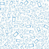abstrakcjonistyczny deseniowy bezszwowy wektor Błękitni smartphones na białym tle Zdjęcie Stock