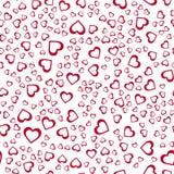 abstrakcjonistyczny deseniowy bezszwowy wektor czerwony białe tło serc Obraz Stock