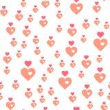 abstrakcjonistyczny deseniowy bezszwowy wektor tła serc menchii biel Fotografia Stock