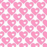 abstrakcjonistyczny deseniowy bezszwowy wektor tła serc menchii biel Obraz Royalty Free