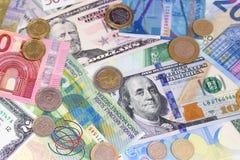 Abstrakcjonistyczny dolarowy euro szwajcarskiego franka i monet tło Obraz Stock
