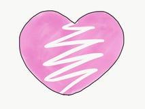 Abstrakcjonistyczny doodle łamający ręka remisu nakreślenia różowy kierowy kształt odizolowywa, ilustracja, akwareli farby styl,  ilustracji