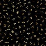Abstrakcjonistyczny doodle kształtuje złocistej folii bezszwowego wektorowego tło Błyszczący kruszcowi złoci trójboki, twirls, kw ilustracji
