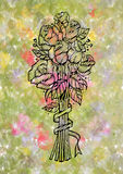 Abstrakcjonistyczny doodle róż bukiet Fotografia Stock