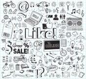 abstrakcjonistyczny doodle rysować kwieciste ręki ilustracje ustawiać Zdjęcia Stock