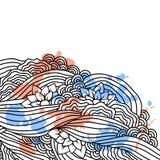 Abstrakcjonistyczny doodle tło. Wektoru karciany szablon. Zdjęcia Royalty Free