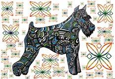 Abstrakcjonistyczny druk, tło pies, symbol rok Zdjęcia Royalty Free