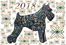 Abstrakcjonistyczny druk, tło pies, symbol rok Obraz Stock