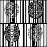 Abstrakcjonistyczny drzewny bezszwowy wzór, stylizowany czarny i biały las, rocznika wektorowy monochromatyczny rysunek Ozdobny d obrazy royalty free