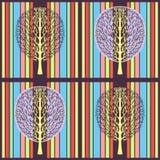 Abstrakcjonistyczny drzewny bezszwowy wzór, wektorowa ilustracja, stylizowany rysunek Ozdobny drzewo z gałąź i purpury koronujemy obraz royalty free