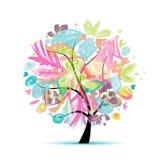 Abstrakcjonistyczny drzewny kwiecisty dla twój projekta royalty ilustracja