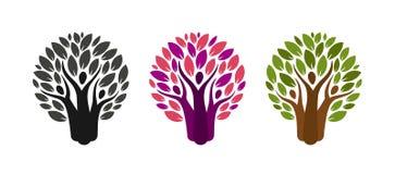 Abstrakcjonistyczny drzewo i ludzie logów Ekologia, środowisko, natury etykietka lub ikona, również zwrócić corel ilustracji wekt ilustracja wektor