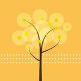 Abstrakcjonistyczny drzewo z żółtym tłem Zdjęcia Royalty Free