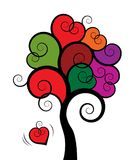 Abstrakcjonistyczny drzewo z kolorowy serce kształtującymi liśćmi odizolowywającymi na białym tle ilustracji